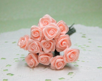 miniature peach satin roses on wire stems tiny 8mm 1 dozen for crafting and scrapbooking