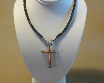 Horse Hair Necklace with Two Braids and Horse Shoe Nail Cross Pendant