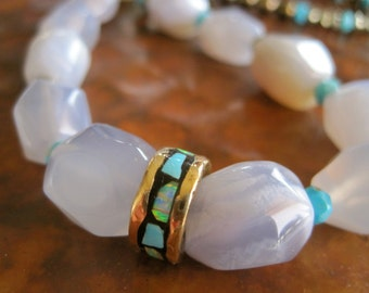 NOW HALF OFF Opal Chalcedony Sleeping Beauty Turquoise Necklace Statement Natural Gem Rock Handcrafted Jewelry
