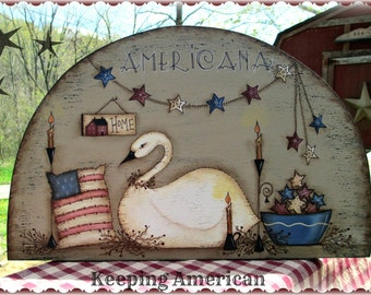 E PATTERN - Keeping American - NEW - Americana, Swan, Stars - Designed by T. French & Painted by Sharon Bond - FAAP
