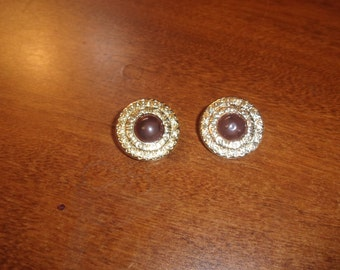 vintage clip on earrings lucite circles