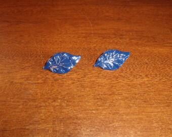 vintage clip on earrings blue leaves