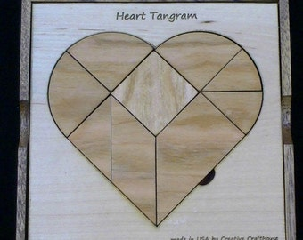 Heart Tangram Puzzle - Premium model from Maple/Cherry.  Makes Heart and 59 other provide shapes