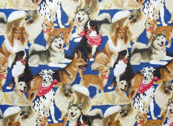 Dogs Fabric / Dogs with Bandanas  / Chihuahua, Dalmatian, Collie, Husky, Labs