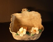 Lace ceramic dish hand built in USA  from A lump of of clay has beautiful dogwood flowers