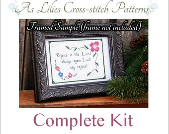 "Complete Cross stitch Kit ""Rejoice in the Lord"" - Bible Verse Cross-stitch Pattern - Beginner Cross-stitch Kit - Childrens Craft Kit"