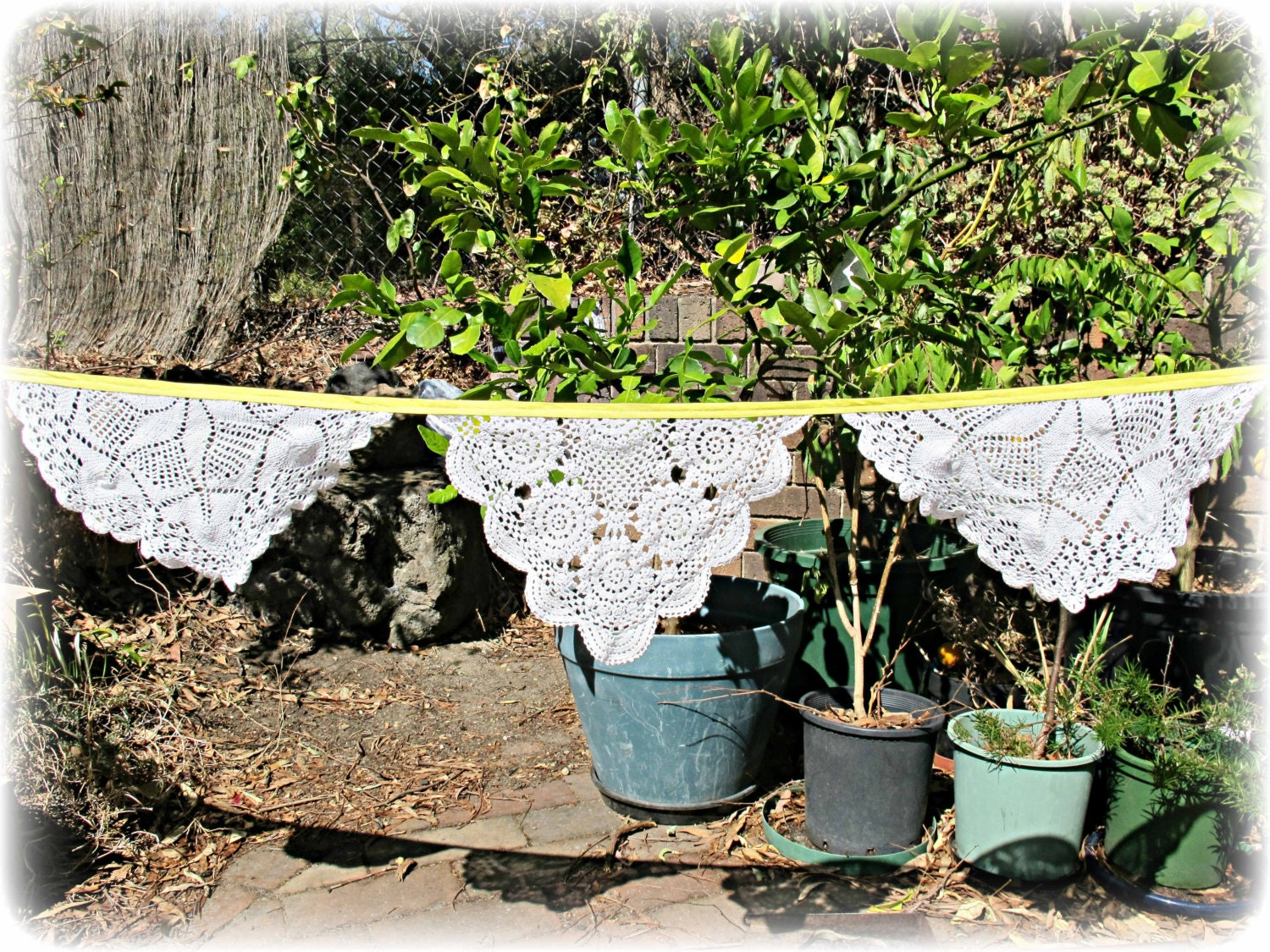 image vintage doily bunting yellow sunshine white crochet party wedding bridal domum vindemia