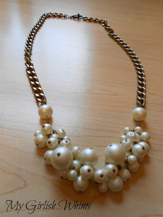 SALE Pearl Cluster Necklace
