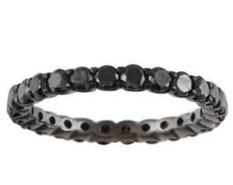 1.55CT Black Diamond Eternity Ring 14K Black Gold Size 4-9