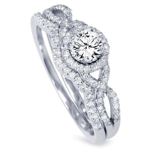 Diamond 70ct Infinity Engagement Ring Wedding Band Set