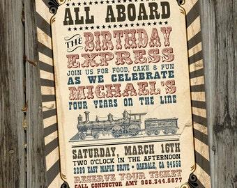 Vintage Train Invitation, Train Birthday Invitation, Train Birthday Party, Train Party Invitation, Choo Choo Invitation, PRINTABLE