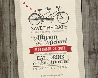Vintage Retro Bicycle Built for Two PRINTABLE Save the Date Wedding Announcement