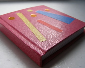 Pink mini notebook - Handmade notebook - Small notebook - Coloured inlays - Gold tooling design - Hardback notebook
