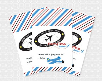 Airplane Party Thank You Tags, Printable file, Personalized