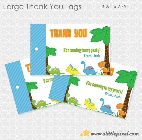 Dinosaur Theme Party Thank You Tags - Personalized Printable - rex, triceratops, dino