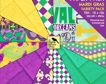 Mardi Gras - 12x12 Digital Paper Pack - INSTANT DOWNLOAD - for Scrapbooking, Cards, Collage, Invites, Decoupage, Crafts and More