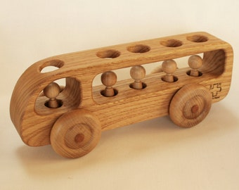 Wooden Bus - Wooden toy Car - Chestnut wood