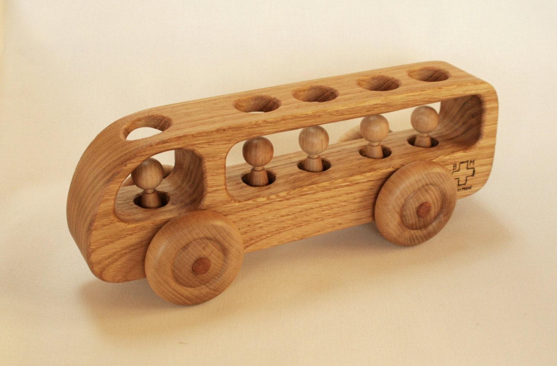 Wooden Bus Wooden toy Car Chestnut wood