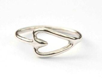 Sideways Heart Ring - Sterling Silver