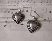 vintage sterling silver earrings -  pierced, hearts