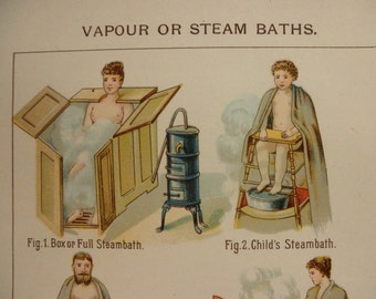 original page -1898 color litho MEDICAL page from antique medical book - Vapour or Steam Baths
