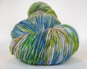 TERRARIUM Hand Dyed Yarn MCN Sock Weight Green, Blue, Purple - spinningmulefibers