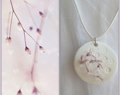 Seaweed Air-dry  clay  necklace, handmade nature pendant.