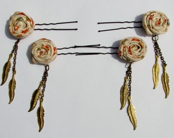 Vintage Rose and Gold Feather Hairpins (Set of 4)
