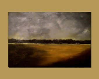 Abstract Landscape Painting, Stormy and Masculine Rustic, Custom Art
