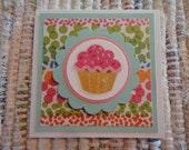 Pink Cupcake Mini Cards  Set of 4