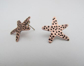 Starfish earrings, metalsmith jewelry - copper,brass, sterling silver artisan metalwork post earrings, surf jewelry