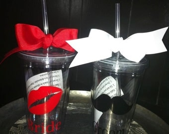 Bride and Groom Tumblers - Wedding Gift -Wedding Shower Gift - Mr and Mrs Gift - Lips and Mustache - Bride to Be