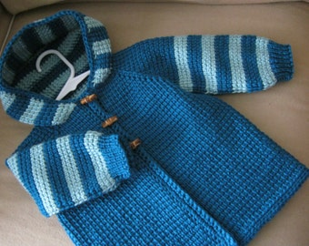 Baby Boy or Girl Sweater with Hood - Crochet Dark Teal and Aqua Mist Green- MADE TO ORDER - Tunisian Crochet - Handmade