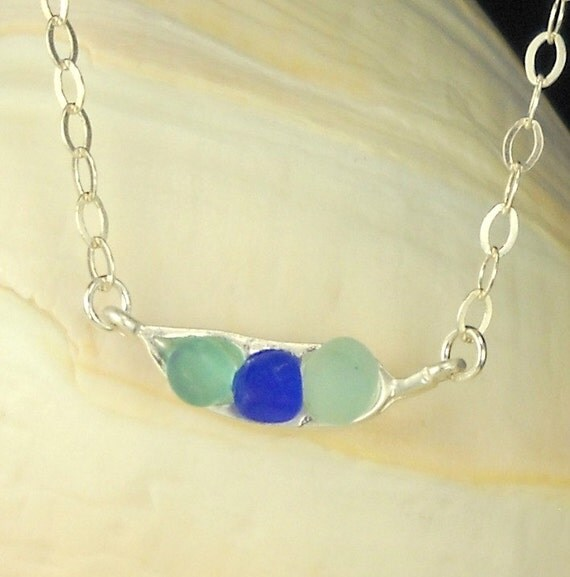 Eco Friendly Pea Pod Necklace Sea Glass Jewelry