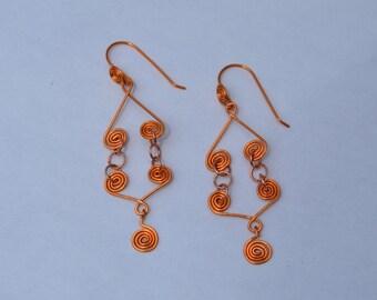 Hammered Copper Celtic Earrings, Copper Wire Earrings
