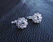 Rhinestone clip on earrings, Round solitary diamond look alike bridal earrings