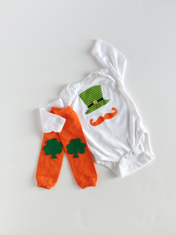 St. Patrick's Day Leprechaun Hat and Mustache One Piece With Shamrock Leg Warmers