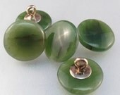 ANTIQUE JADE 10KT gold buttons. china. chinese. vintage. green stone No.001419