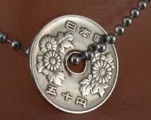 japanese necklace. COIN JEWELRY. Japanese coin necklace. japan coin pendant. yen. chrysanthemum flower oriental. tokyo . 50 yen No.001440