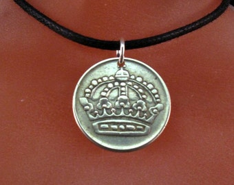 SILVER SWEDISH COIN necklace.  Sweden jewelry. silver ore coin. crown. sverge. number 50 mens jewelry . No.001371