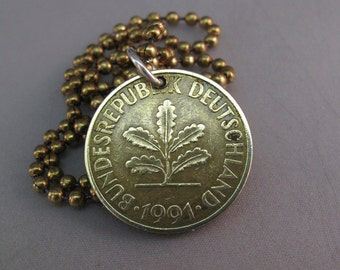 Vintage German COIN jewelry . germany pfennig COIN necklace Deutschland Pendant. 10. personalized mens jewelry No.001250