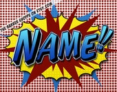 11x14 Personalized Pop Art Print. Great personalized guy gift. Superhero Name