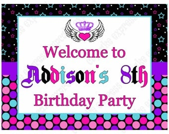 DIY Rockstar Girl Birthday party PRINTABLE Welcome Sign pink black purple teal guitar rock star