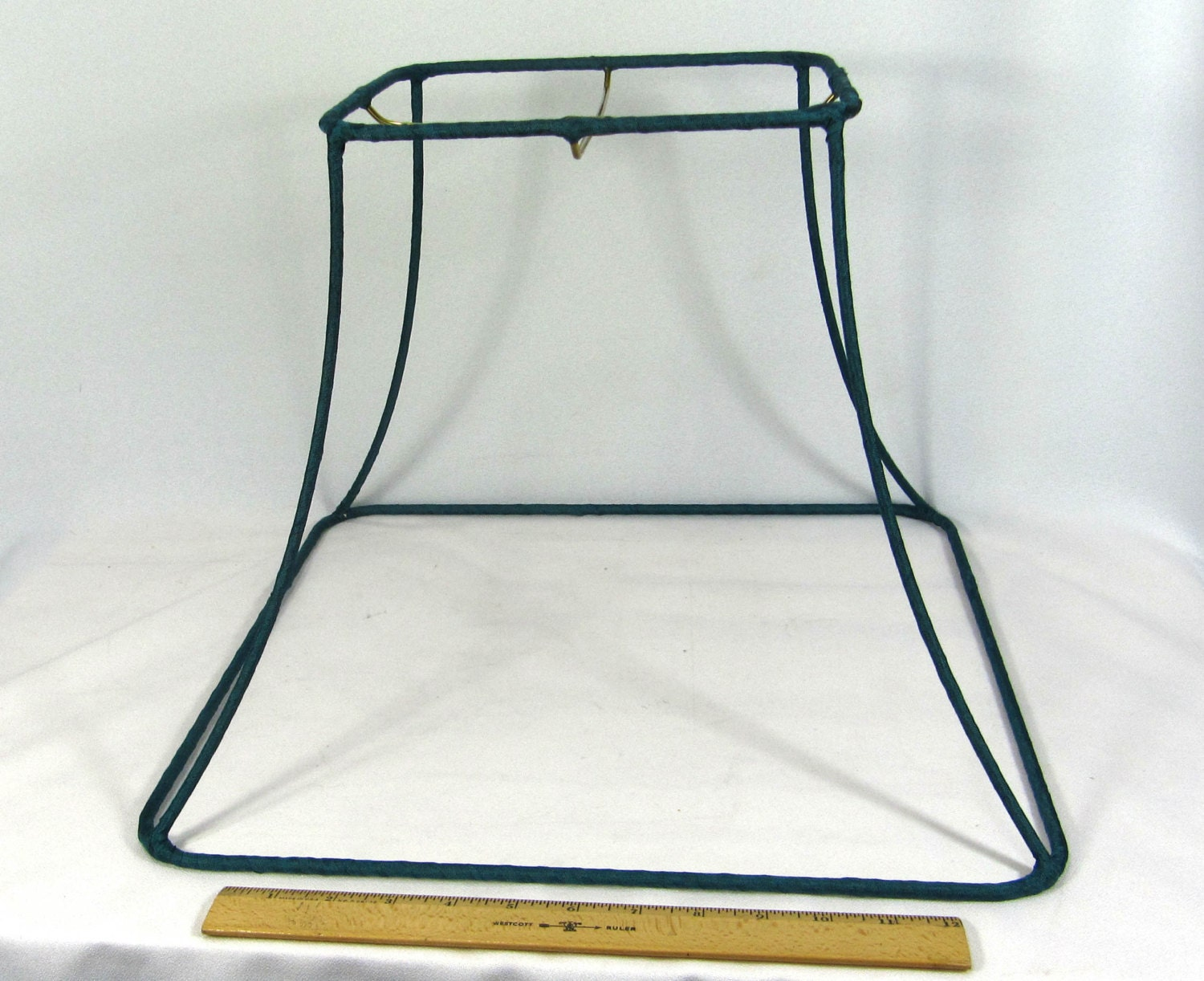 lamp shade frame for floor table or pendant with green binding. Black Bedroom Furniture Sets. Home Design Ideas