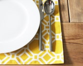 Fabric Placemats -Yellow Geometric - Set of 4
