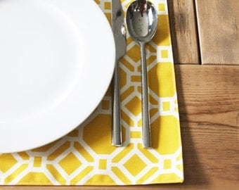 Fabric Placemats -Yellow or Rust Geometric - Set of 4