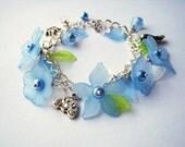 Cinderella -  floral charm bracelet - blue, white & green