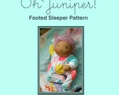 Footed Sleeper with Zipper Pattern for 10 and 15 inch Waldorf dolls by Oh Juniper