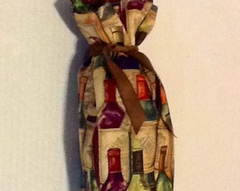 SALE Fabric (reusable) Wine Bag