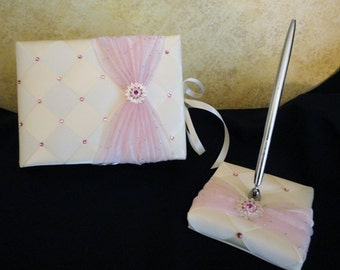 Sweet 16 Guest Book and Pen Set, Quince Guest book, Wedding Guest Book, Bridal Guestbook with Swarovski Crystals - Custom Made to Order